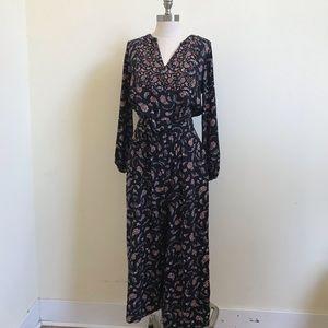 Floral Long Sleeve Jumpsuit w/ Belt